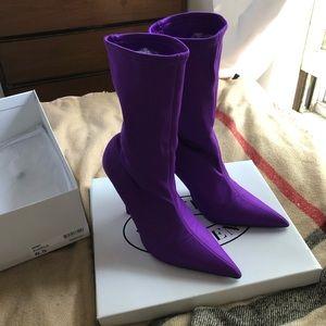 Steve Madden Mimi purple stretch sock booties 6.5